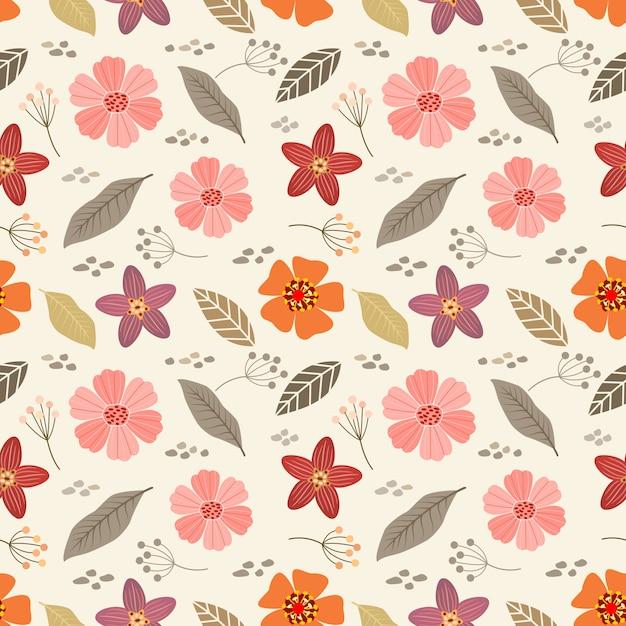カラフルな手描きの花のシームレスなパターン。布テキスタイル壁紙。 Premiumベクター