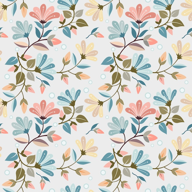 Colorful hand drawn flowers seamless pattern vector design. can use for fabric textile wallpaper. Premium Vector