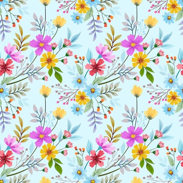 カラフルな手描きの花のシームレスなパターンベクトルデザイン。ファブリックテキスタイルの壁紙に使用できます。 Premiumベクター