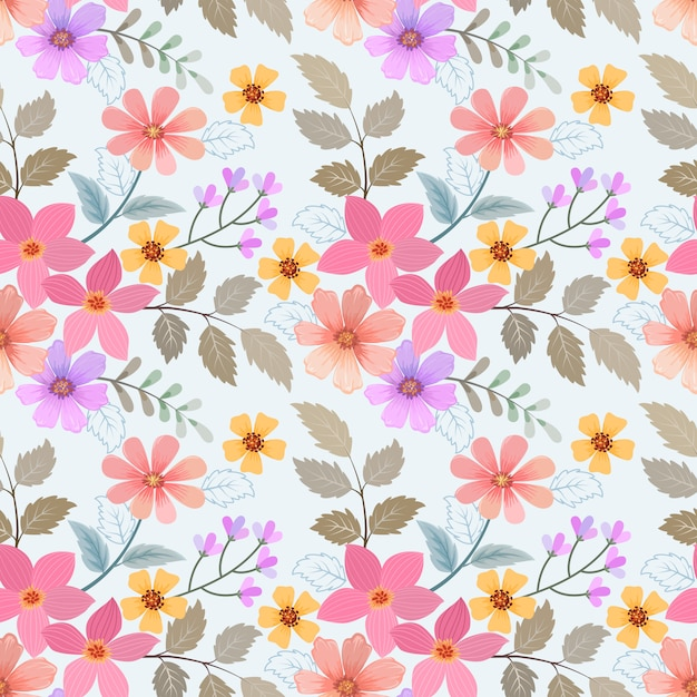 Colorful hand drawn flowers seamless