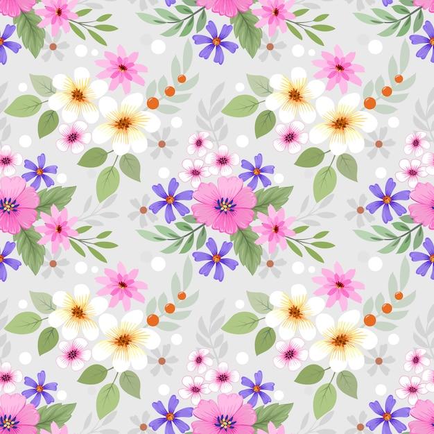 Красочные рисованной цветы бесшовные модели Premium векторы