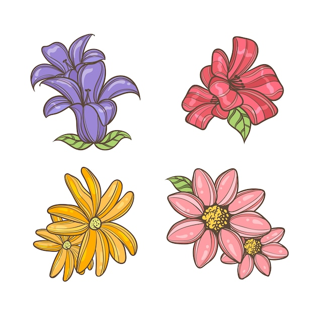 Colorful hand drawn flowers Free Vector