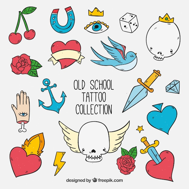 Colorful hand drawn funny old school tattoo\ collection