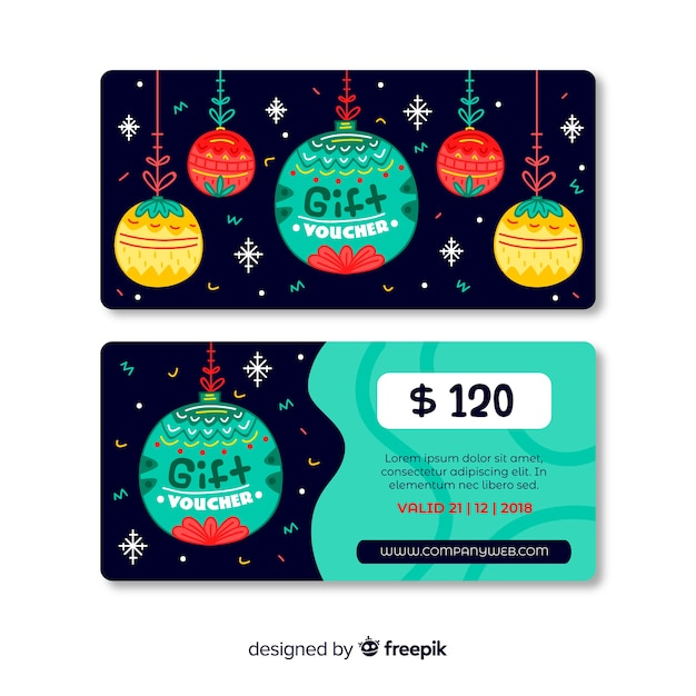 Colorful hand drawn gift voucher template Free Vector