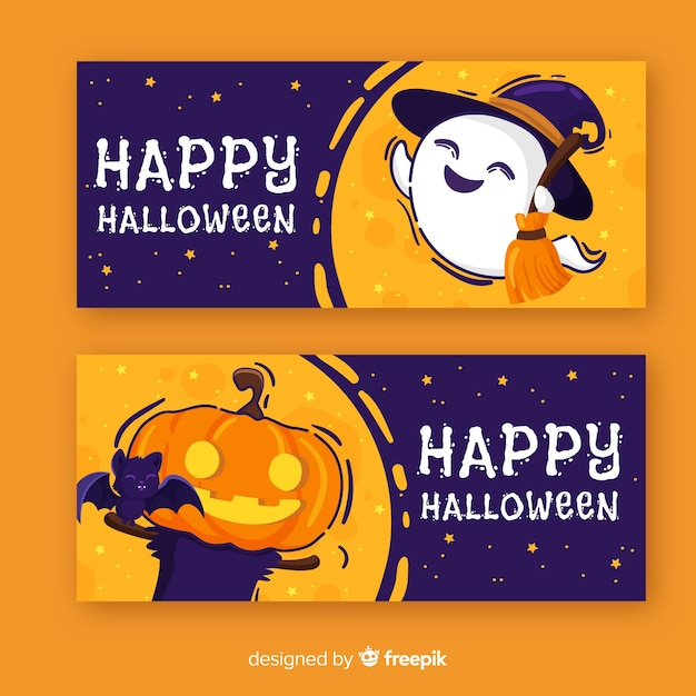 Colorful hand drawn halloween banners Free Vector