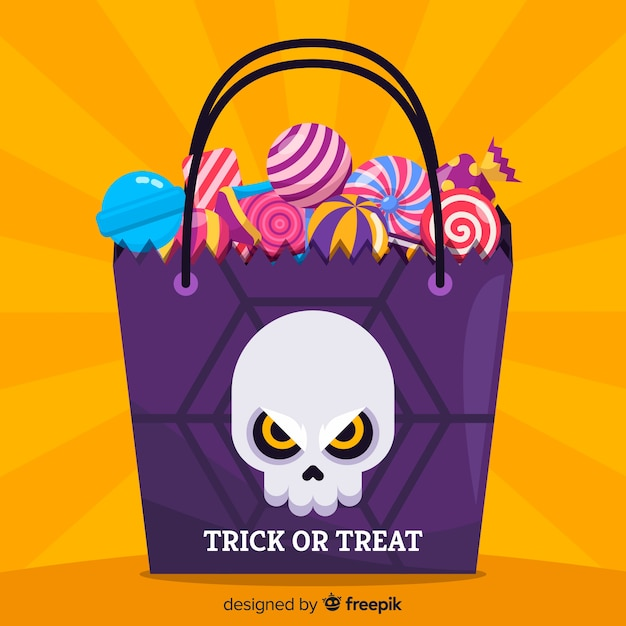 Colorful hand drawn halloween candy bag Free Vector