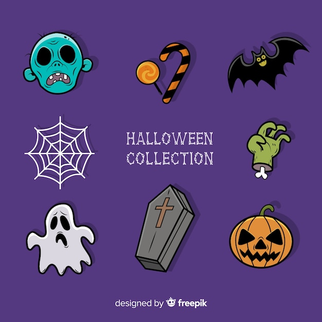 Colorful hand drawn halloween element collection Free Vector