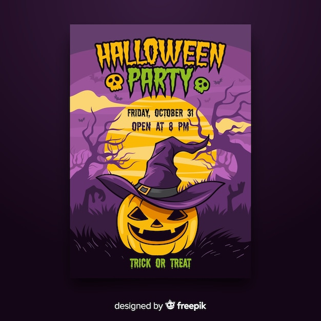 Colorful hand drawn halloween party poster Free Vector