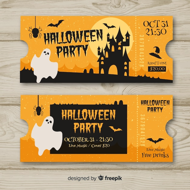 Colorful Hand Drawn Halloween Party Ticket Template Vector