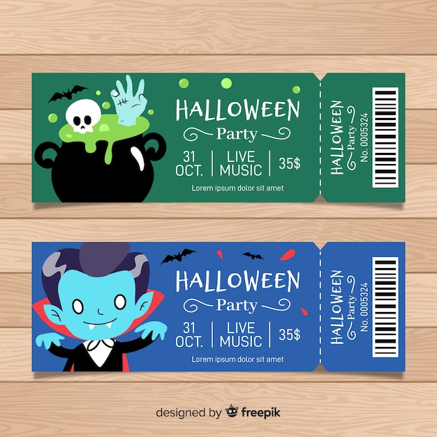 colorful hand drawn halloween party ticket template vector free