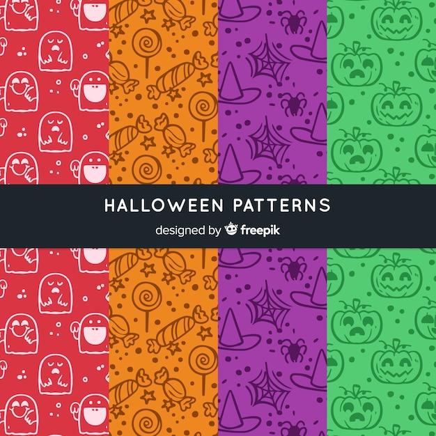 Colorful hand drawn halloween pattern collection Free Vector