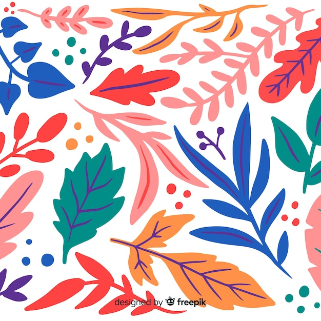 Colorful hand drawn leaves background Free Vector