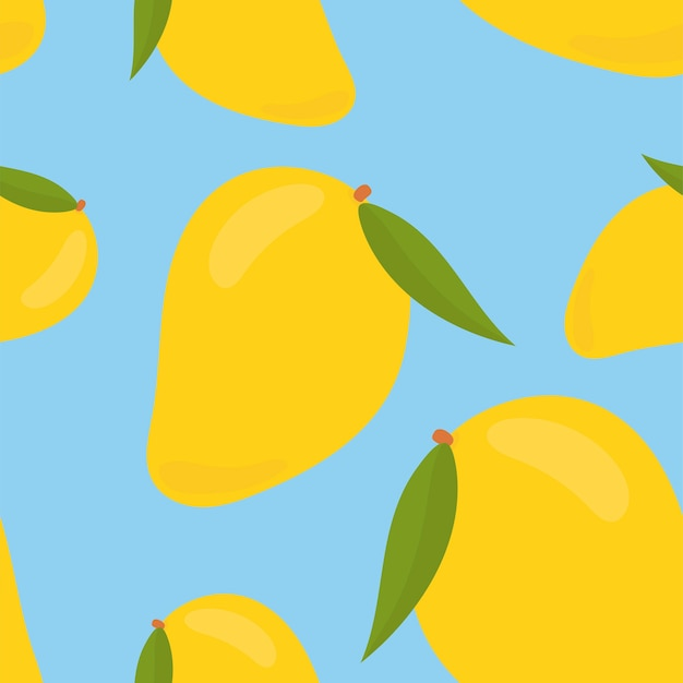 Colorful hand drawn mango pattern Free Vector