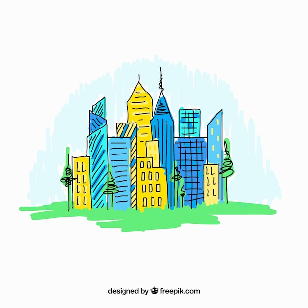 Colorful hand drawn modern city\ background