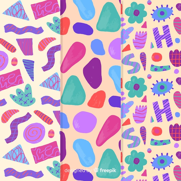 Colorful hand drawn pattern abstract Free Vector