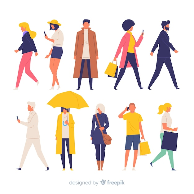 Colorful hand drawn people doing different actions Free Vector