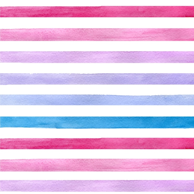 Colorful hand drawn real watercolor seamless pattern with blue, pink and purple horizontal strips Free Vector