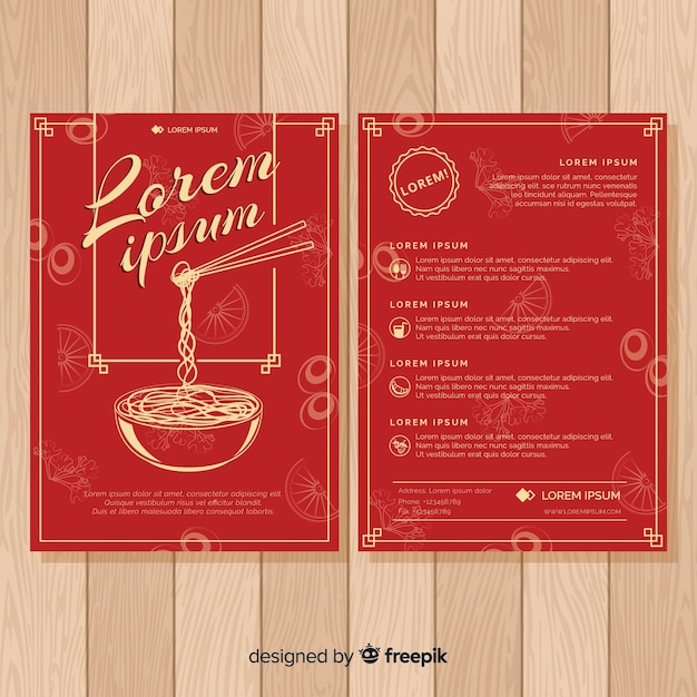 Colorful hand drawn restaurant flyer template Free Vector