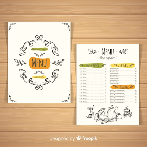 Colorful hand drawn restaurant menu template Free Vector
