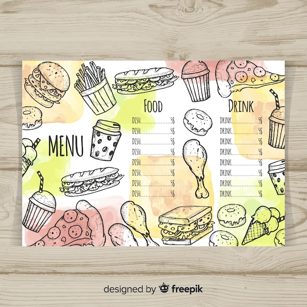 Colorful hand drawn restaurant menu template Free Vector