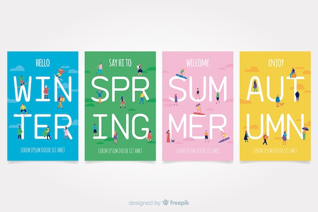 Colorful hand drawn seasonal poster set Free Vector