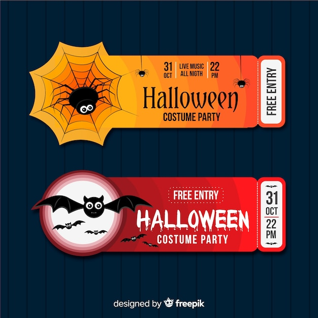 Colorful hand drawn set of halloween party tickets Free Vector