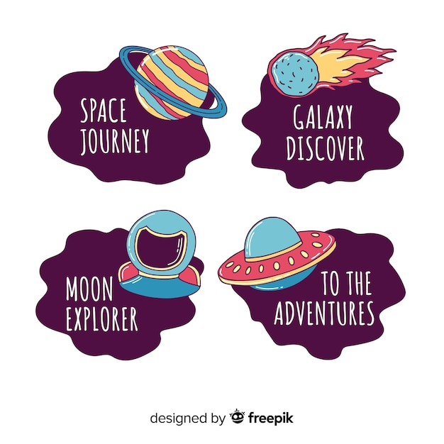 Colorful hand drawn space badge collection Free Vector