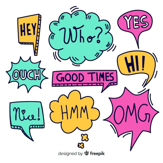 Colorful hand drawn speech bubbles with expressions Free Vector