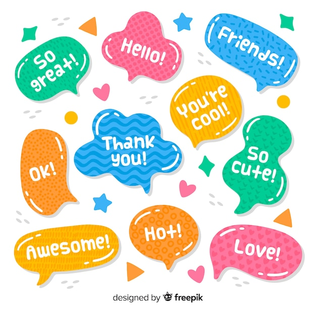 Colorful hand drawn speech bubbles Free Vector