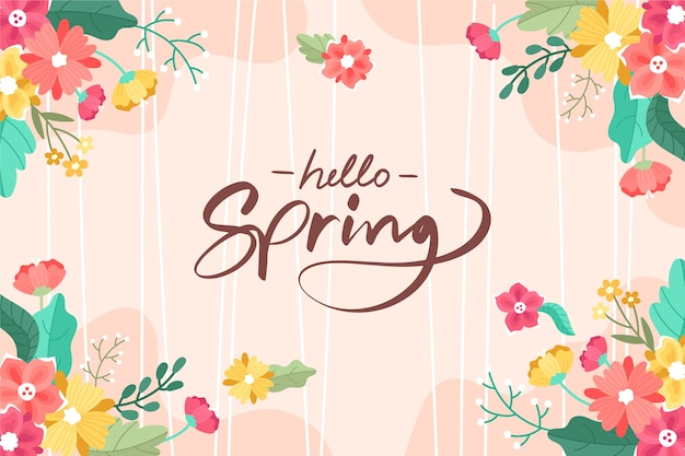 Colorful hand drawn spring background Free Vector