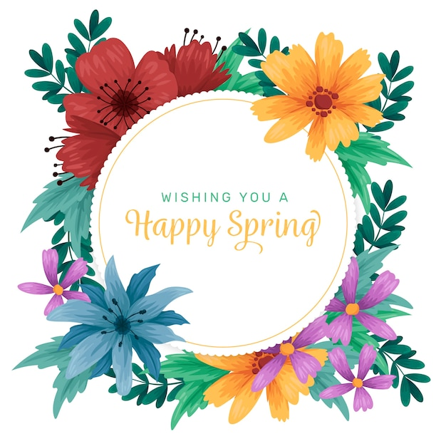 Colorful hand drawn spring floral frame Free Vector