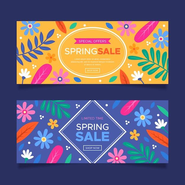 Красочные рисованной весенние продажи баннеров Бесплатные векторы
