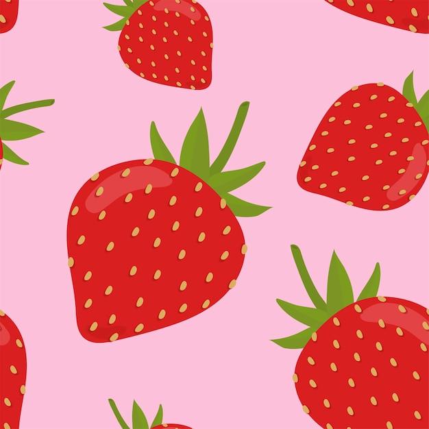 カラフルな手描きのイチゴのパターン 無料ベクター
