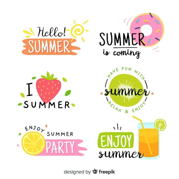 Красочные рисованной летней коллекции значок Premium векторы