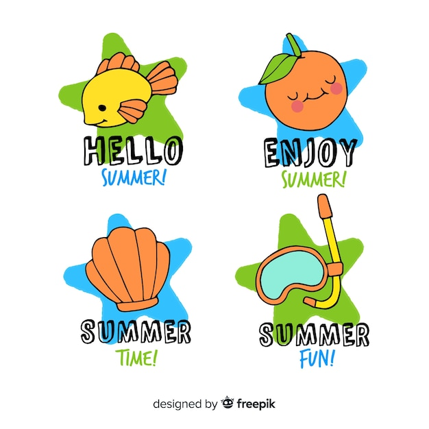 Colorful hand drawn summer badge collection Free Vector