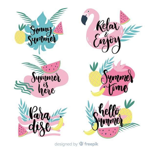 Colorful hand drawn summer label collection Free Vector