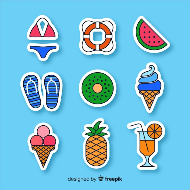 Colorful hand drawn summer sticker collection Free Vector