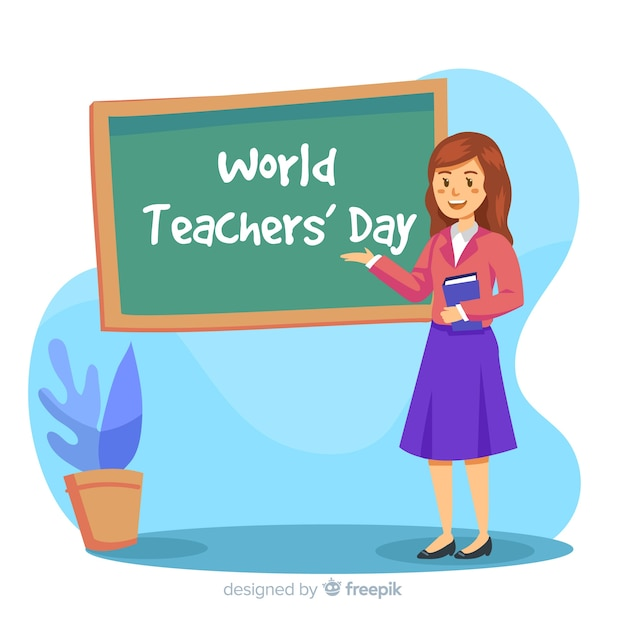 Colorful hand drawn teacher showing the board Free Vector