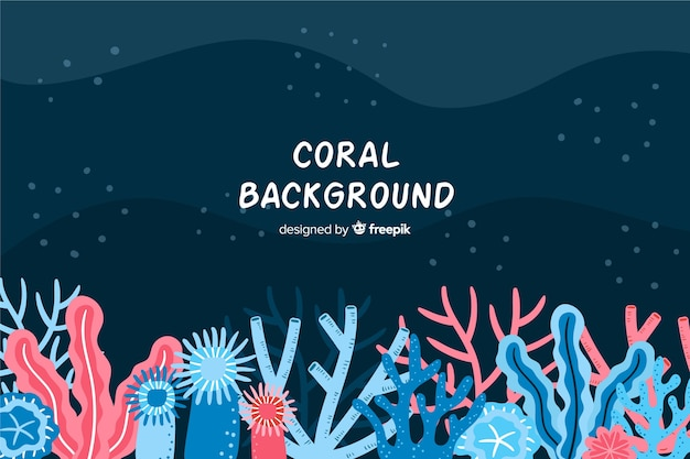 Colorful hand drawn underwater coral background Free Vector