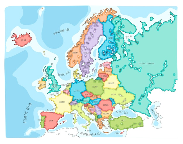 Colorful Hand Drawn Vector Map Of Europe Premium Vector