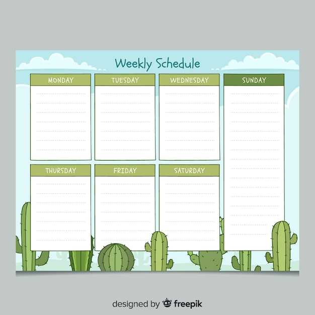 Colorful hand drawn weekly planner template Free Vector