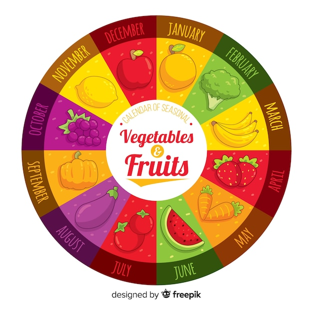Colorful hand drawn wheel of seasonal vegetables and fruits Free Vector