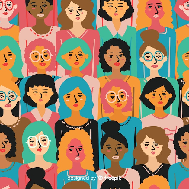 Colorful hand drawn women pattern Free Vector