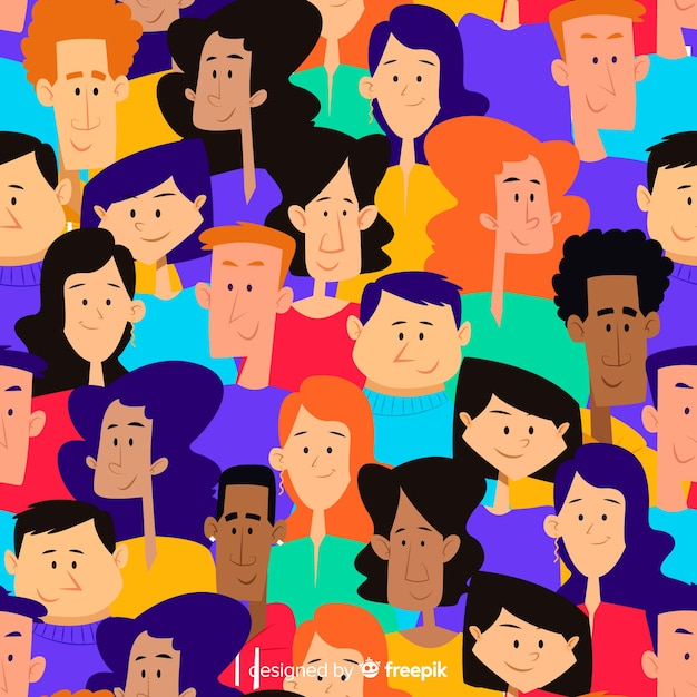 Colorful hand drawn youth people pattern Free Vector