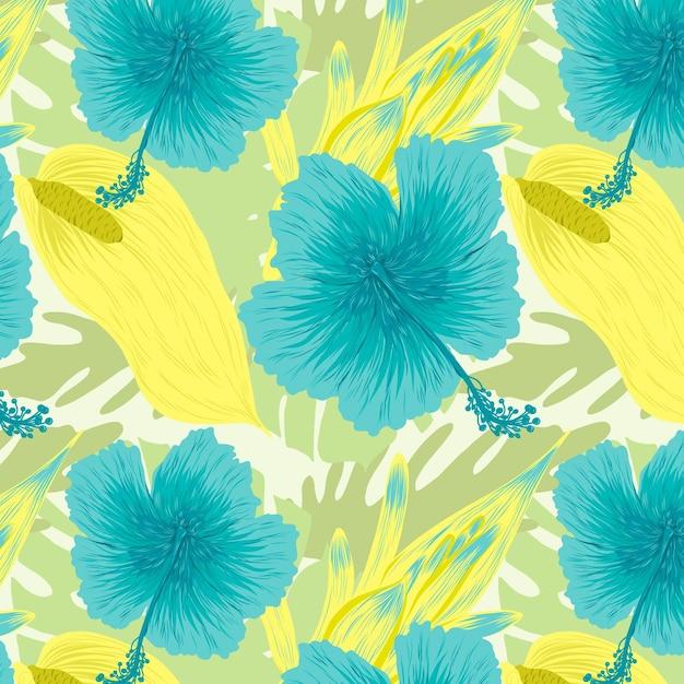 カラフルな手描きのエキゾチックな花と葉のパターン 無料ベクター