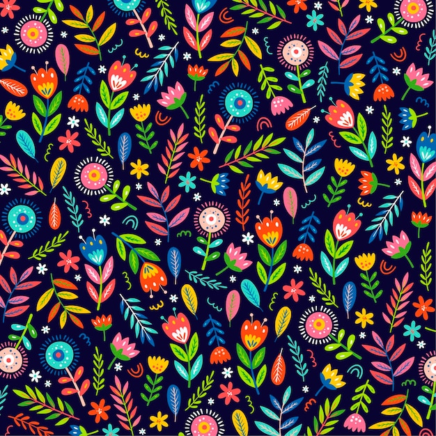 Colorful hand painted exotic flowers and leaves pattern Free Vector