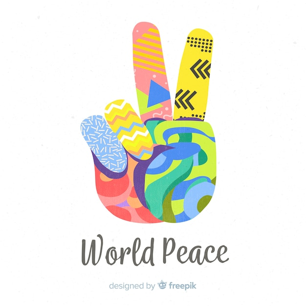 Colorful hand peace sign background Free Vector