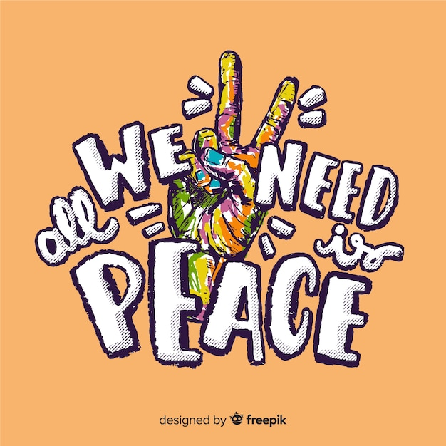 Colorful hand peace sign with words background Free Vector
