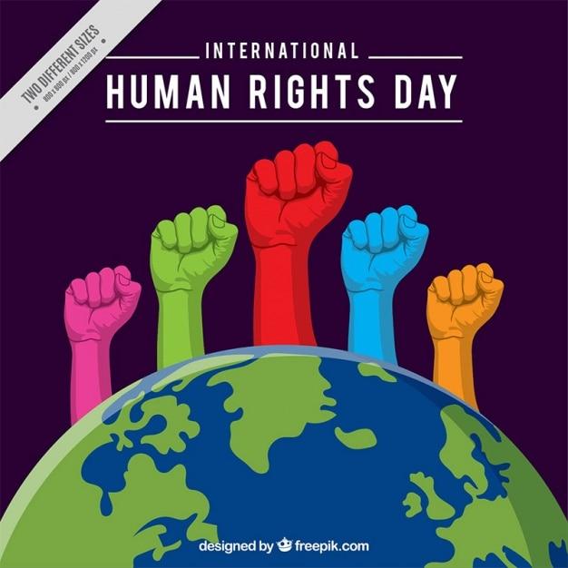 Colorful hands coming out of the world, human rights day Free Vector