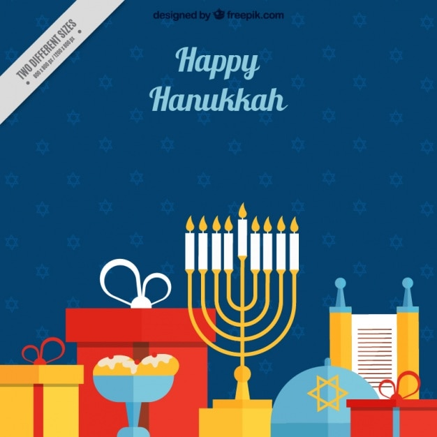 Colorful hanukkah background in flat design Free Vector